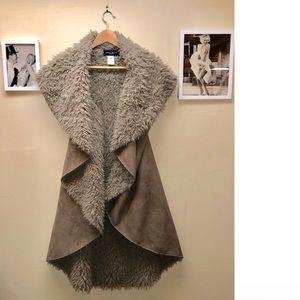 Faux furry long vest